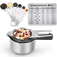 1Easylife Measuring Cups and Spoons Set of 15, Durable Single Stainless Steel 6 Measuring Cups and 6 Measuring Spoons with 2 D Rings and Magnetic Measurement Conversion Chart