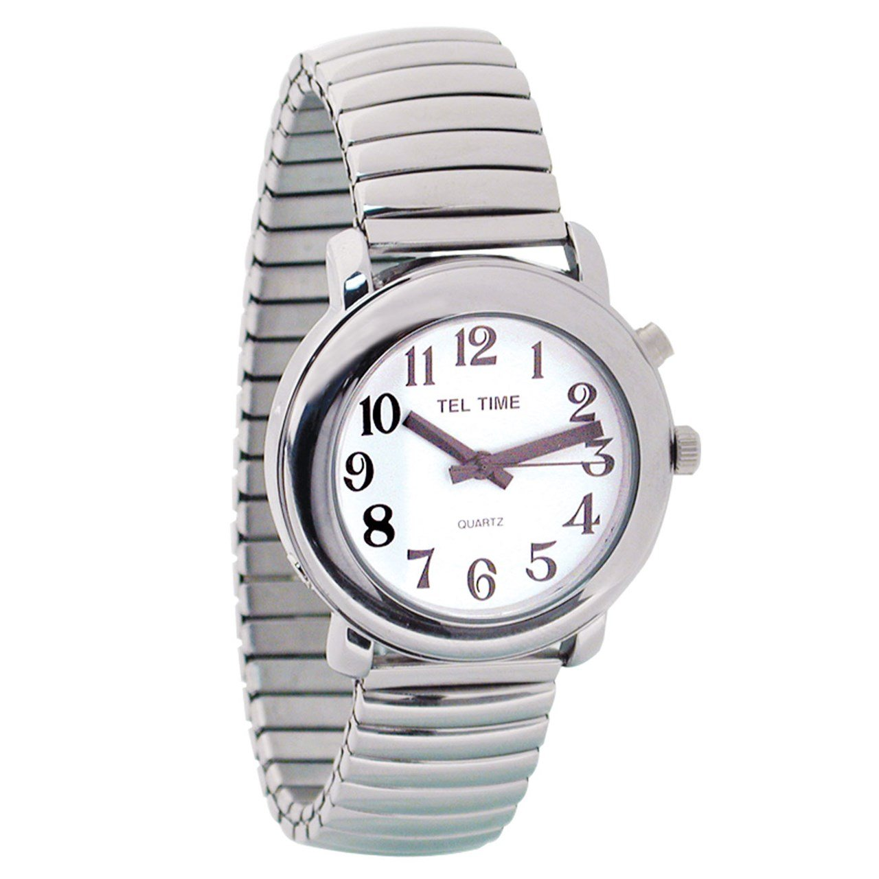 Unisex Tel-Time Talking Watch - One Button - Chrome by MaxiAids