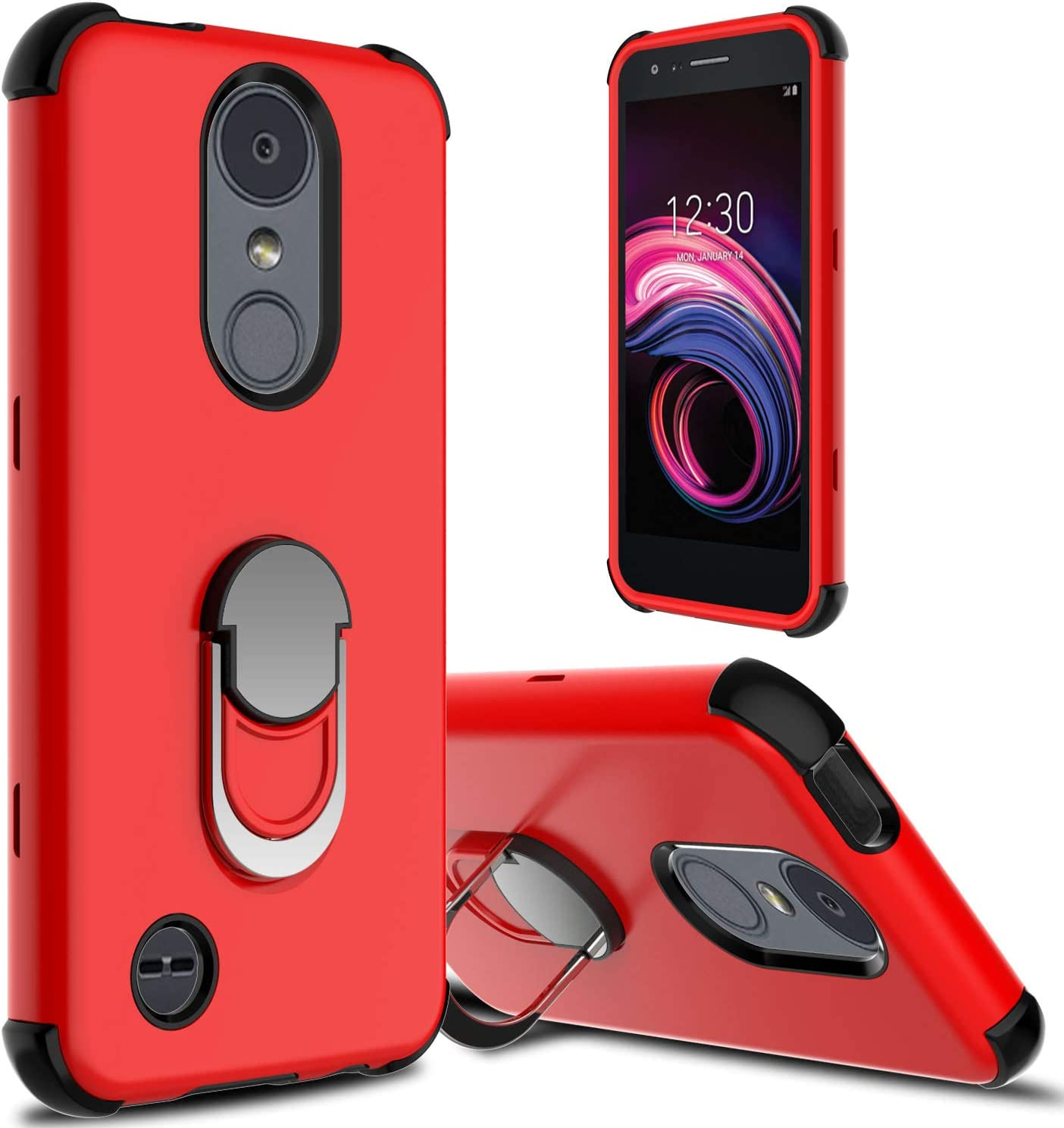 LG Aristo 3 Case, LG Aristo 2/Aristo 2 Plus/LG Tribute Empire Case, lovpec Ring Magnetic Holder Kickstand Phone Case for LG Rebel 4 LTE/LG Phoenix 4/LG Tribute Dynasty/Zone 4/Fortune 2/Risio 3 (Red)