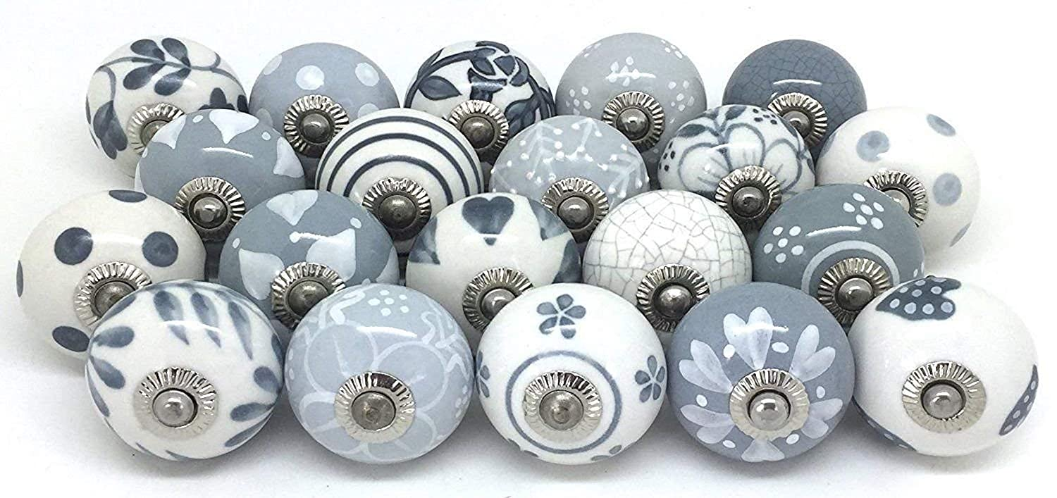 Artncraft Knobs Grey & White Cream Rare Hand Painted Ceramic Knobs Cabinet Drawer Pull Pulls (12 Knobs)