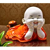 RjKart Polyresin Handcrafted Cute Child Monk Showpiece Laughing Baby Buddha Set of 1