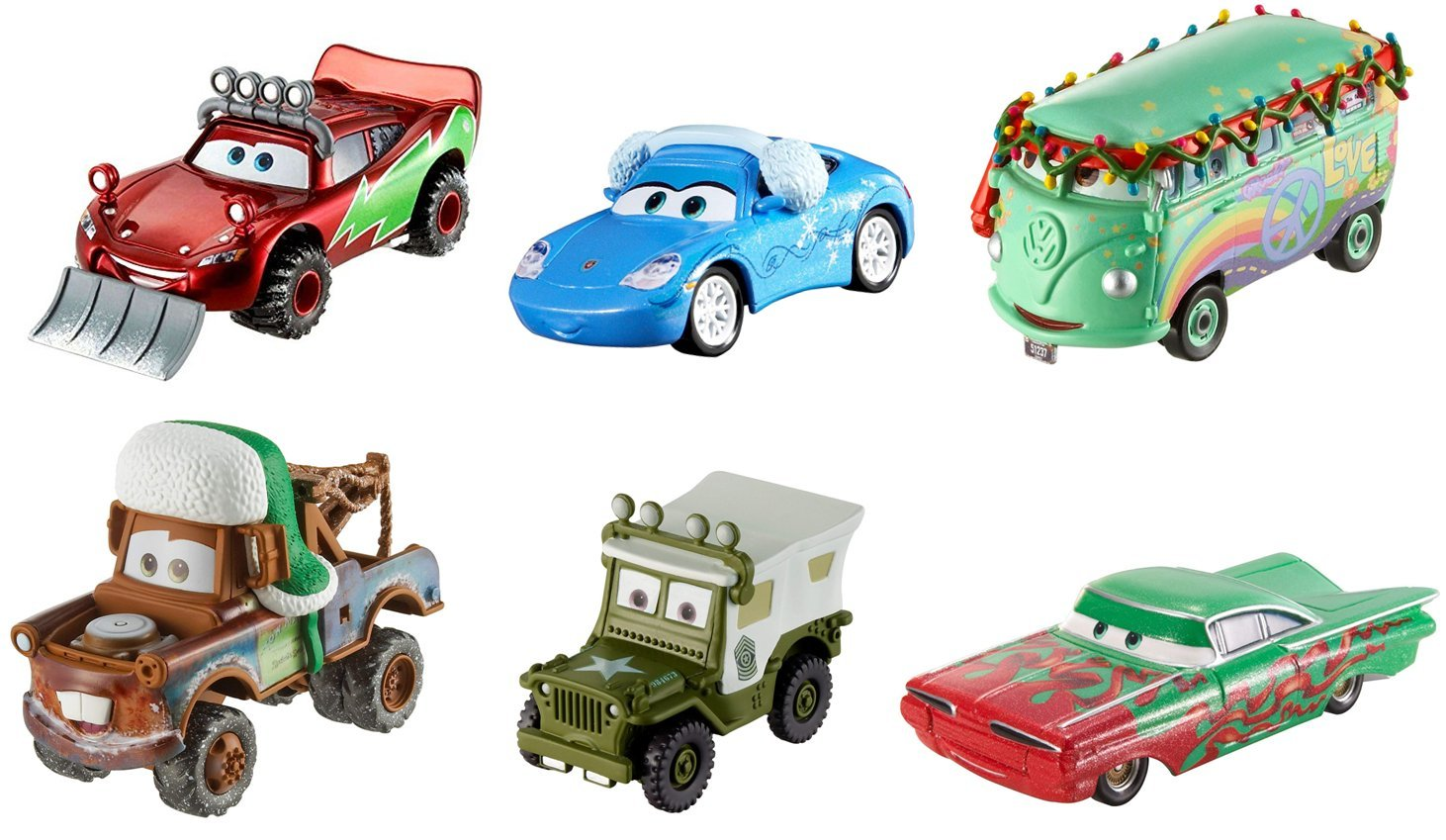 Disney Pixar Cars Diecast Holiday Collection (6 Pack) Lightning McQueen, Mater, Sarge, Fillmore, Ramone, & Sally Combined Brands