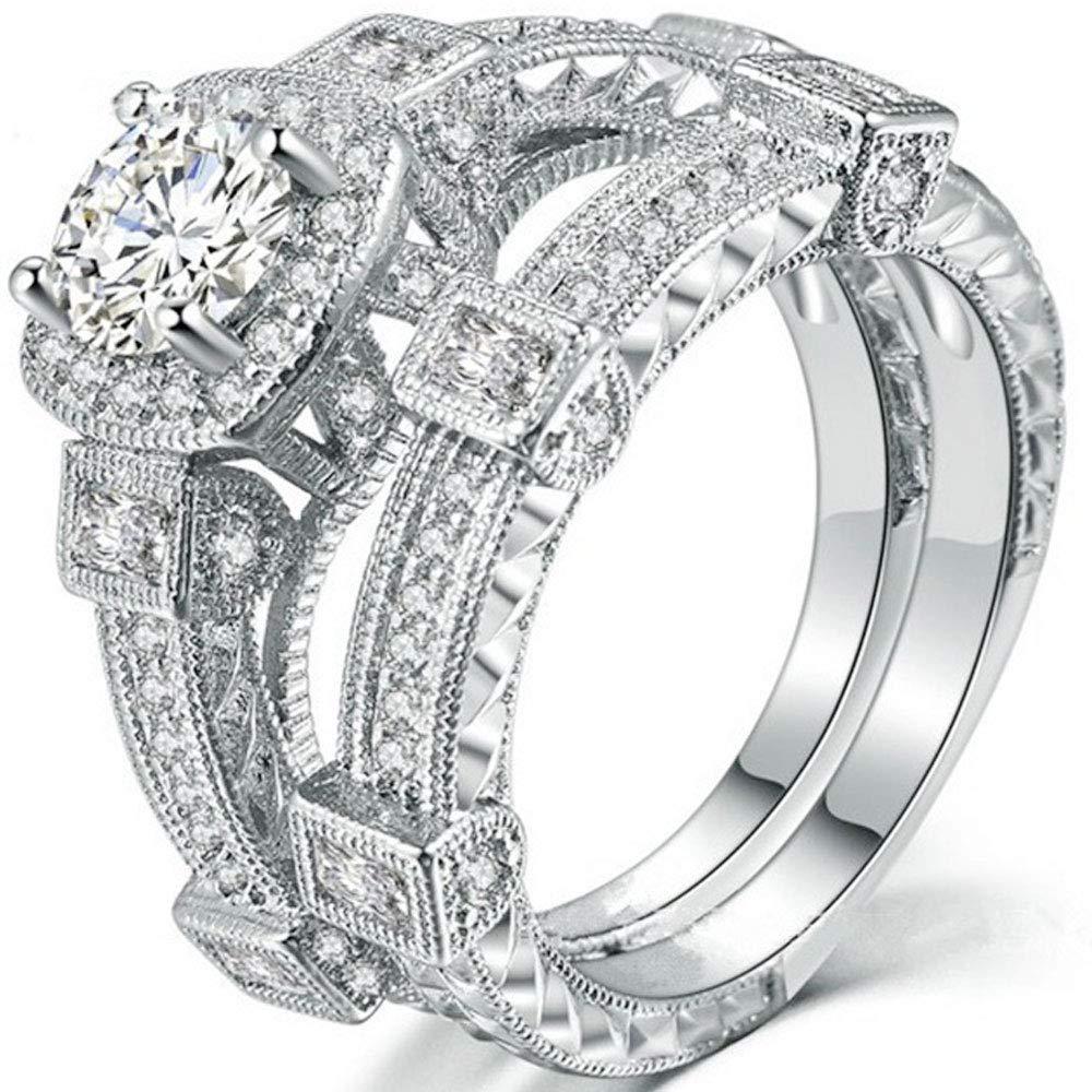 AONEW Women Engagement Wedding Ring Set White Gold 2pcs 1.5ct Round White Cz Size 6-10 Size 6