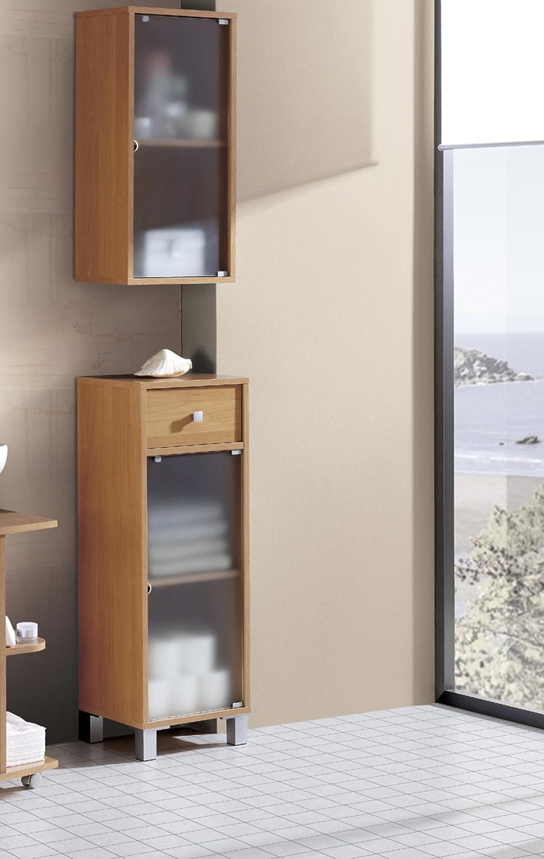 Armario bajo para baño o aseo con cajon y puerta de cristal con estante color cerezo: Amazon.es: Hogar