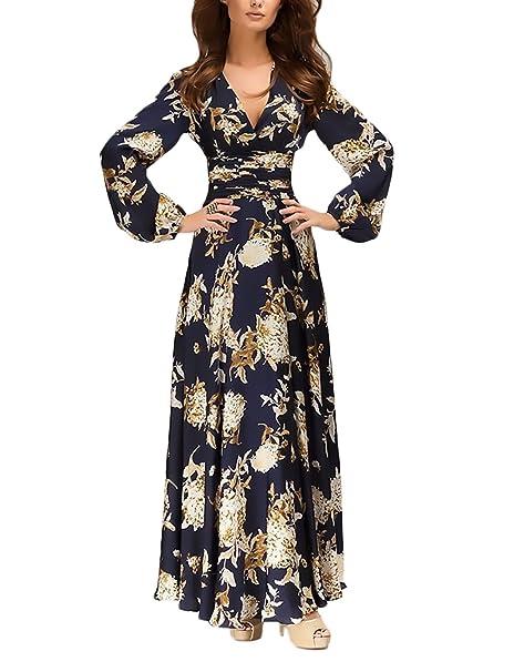 Vestidos De Fiesta De Noche Largo Elegante Ropa De Vestido Vintage Coctel Boho Impresión Floral Manga Larga V Cuello Primavera: Amazon.es: Ropa y accesorios