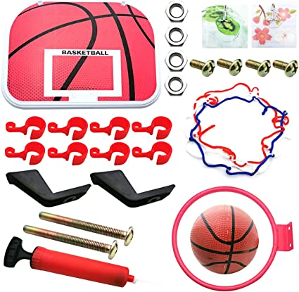 Markeny Indoor Basketball and Wall Basket Hoop with Ball Pump Set for Family Indoor Game