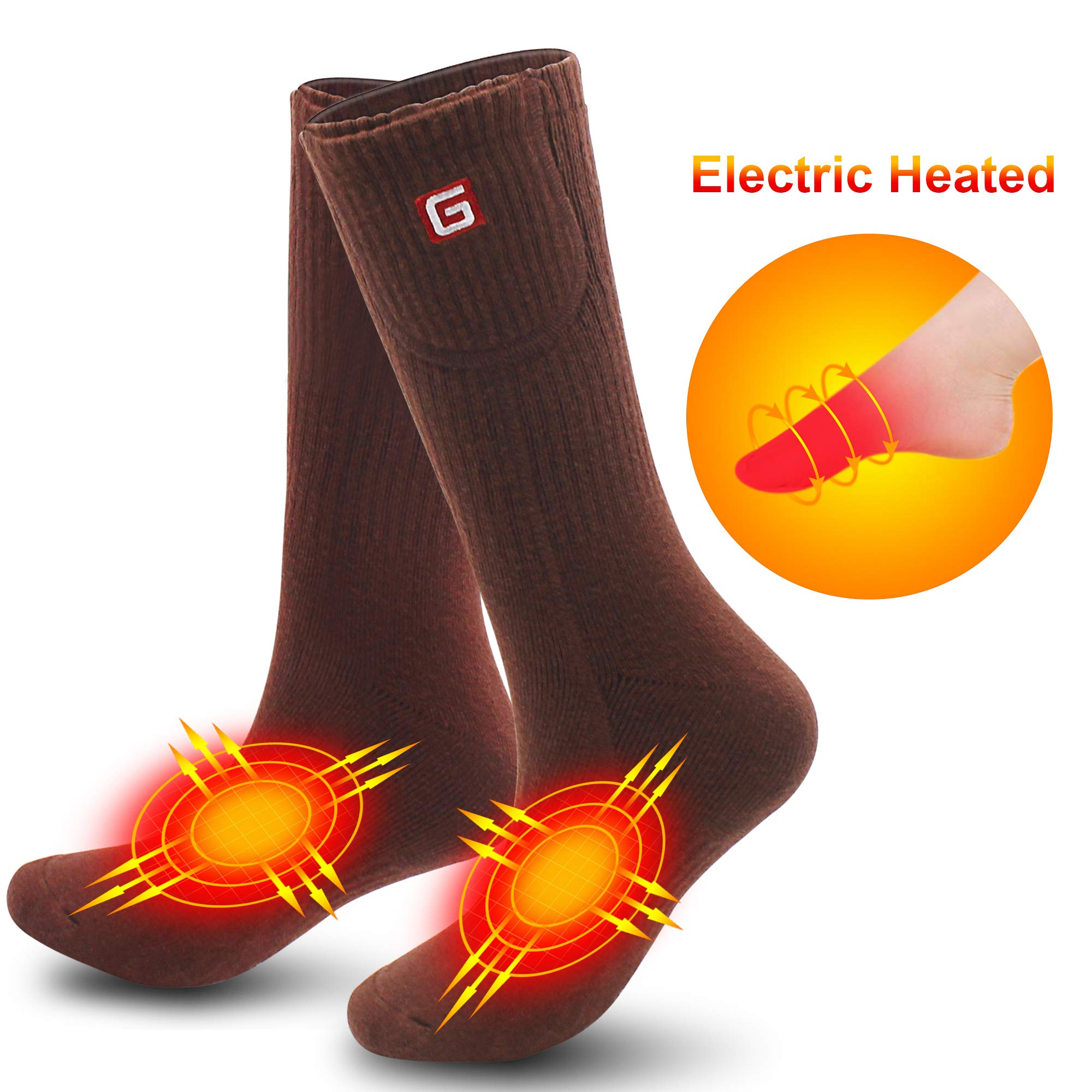 Rechargeable Battery Heated Socks Thick Knitting 3.7V Electric Heated Socks,Winter Unisex Socks Ideal Gift for Men & Women Perfect for Fishing/Hiking/Sleeping Free Size (Brown-L) by MMlove
