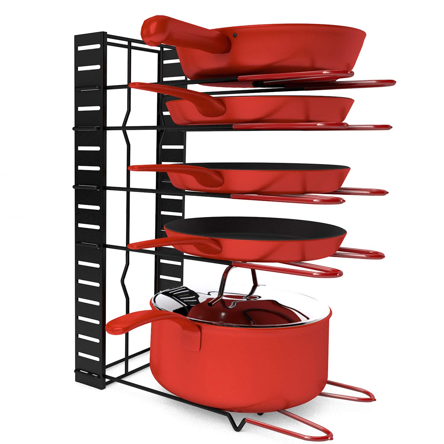 MCIRCO Pot Rack Organizer, 3 DIY Methods, Height and Position are Adjustable 8+ Pots Holder, Black Metal Kitchen Cabinet Pantry Pot Lid Holder by Mcirco (Image #2)