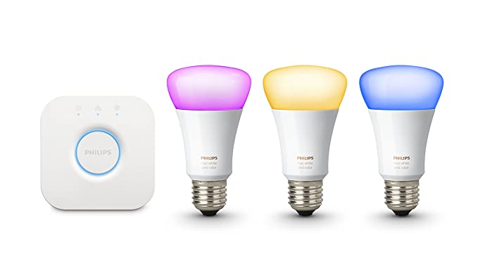 Philips Hue White and Colour Ambiance Wireless Lighting E27 Starter Kit, 3  x Philips Hue 10W E27 Richer Colour Bulbs, 1 x Hue Bridge 2 0, Apple Home