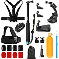 SHOOT 19 in 1 Accessories Kit for Gopro Hero 7/6/5/4/3+/3/2/1 Head Chest Strap + Monopod + Wrist Strap + Suction Cup + Hat Clip + Floaty Bar +Flat/Curved Mount kit + Pouch
