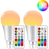 iLC LED Light Bulbs Colour Changing Dimmable 10W B22 Bayonet RGBW Lights, 4th Geneartion RGB Warm Coloured- Dual Memory - 120 Color Choices - 60 Watt Equivalent Remote Controller Included (2 Pack)