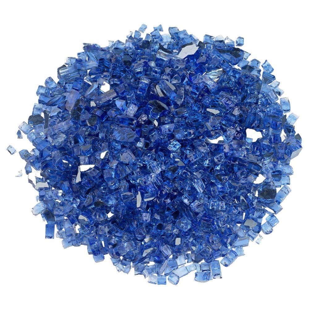 """Cobalt Blue Blazing Glass Classic Fire Glass – Transform The Look of Your Indoor or Outdoor Fireplace, Fire Pit and More with Brilliant Color – Easy to Use, Environmentally Friendly, 1/4"""", 20 lbs."""