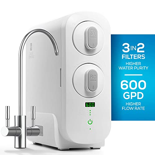 RO Reverse Osmosis Water Filtration System, Countertop or Under Sink Tankless Purifier, 1.5 1 Drain Ratio, 600 GPD, TDS Reduction, Faucet Included