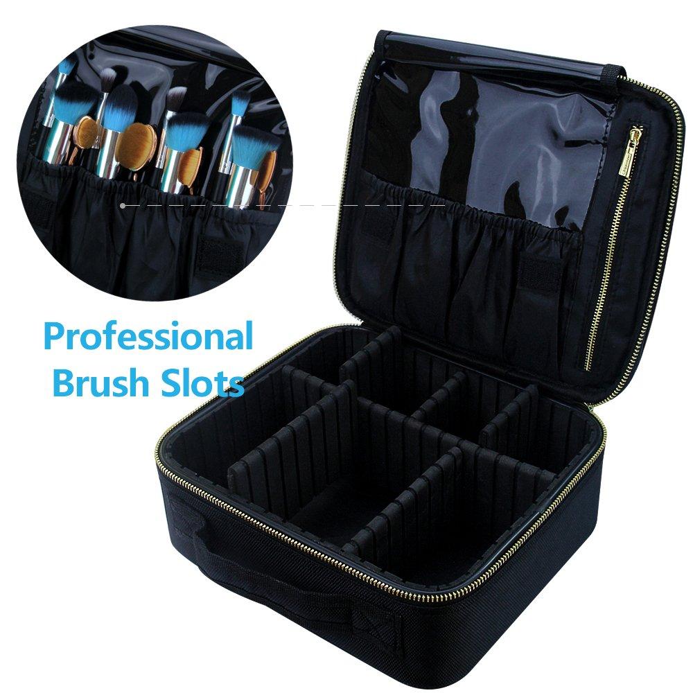 Travel Makeup Case,Samtour- Professional Cosmetic Makeup Bag Organizer,Accessories Case, Tools case (Black-M) by Chomeiu (Image #3)