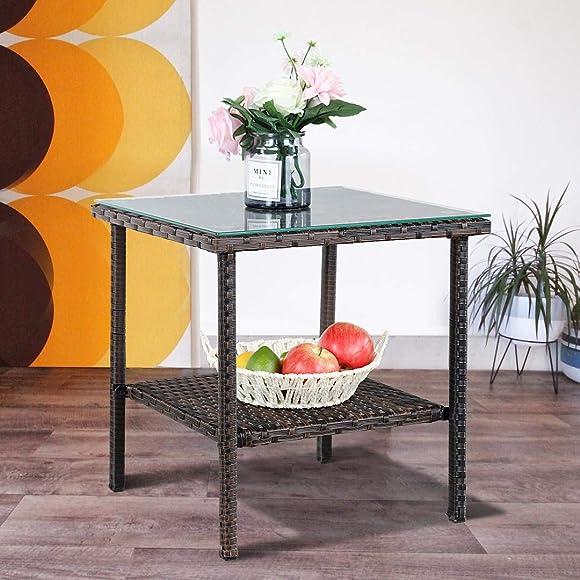 JETIME Patio Furniture Wicker Rattan Outdoor Coffee Side Table