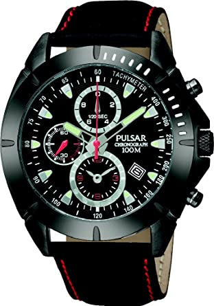 Pulsar Mens PF8305 Sport Chronograph Black Dial Leather Strap Watch