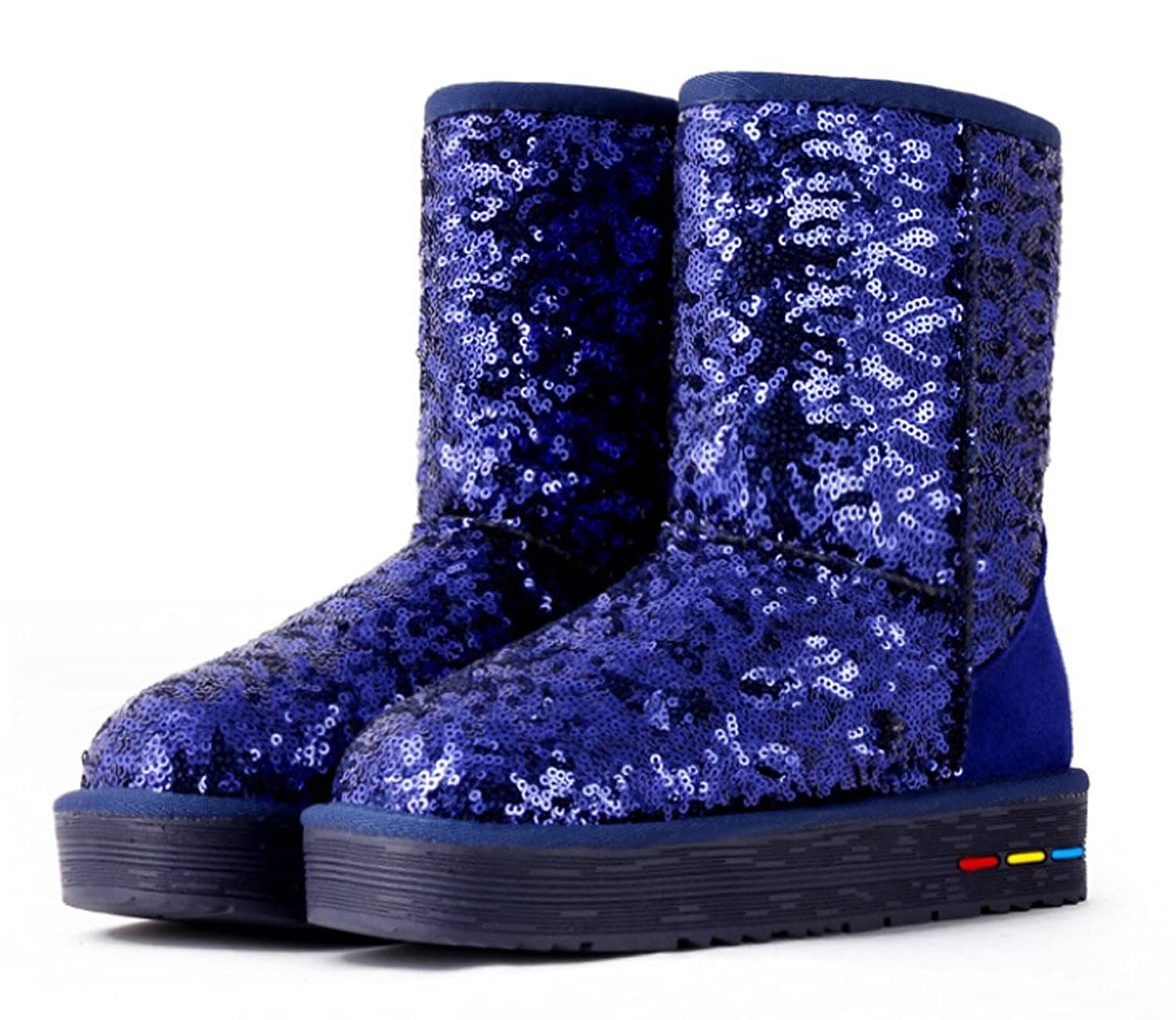 Women's Genuine Leather Fashion Sequins Snow Boots