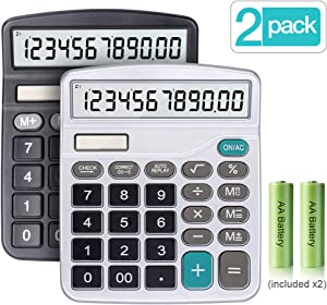 Calculator, 2-Pack 12-Digit Solar Battery Basic Calculator, Solar Battery Dual Power Office Calculator, with Large LCD Display and Large Buttons (Battery Included)