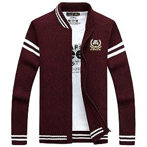 Thirteen one レッド XXL カーディガン メンズ ニットジャケット ジャケット アウター ビジネス カジュアル おしゃれ 無地 シンプル 通勤 ジップアップ セーター