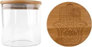 Hakuna Supply - Glass Storage Jar with Decorative Airtight Bamboo Lid - Multi-Use Stash Container for Herbs, Tea, Candy, Q-Tips, etc. for The Bedroom, Kitchen, and Bathroom (1 Oz., Hamsa)