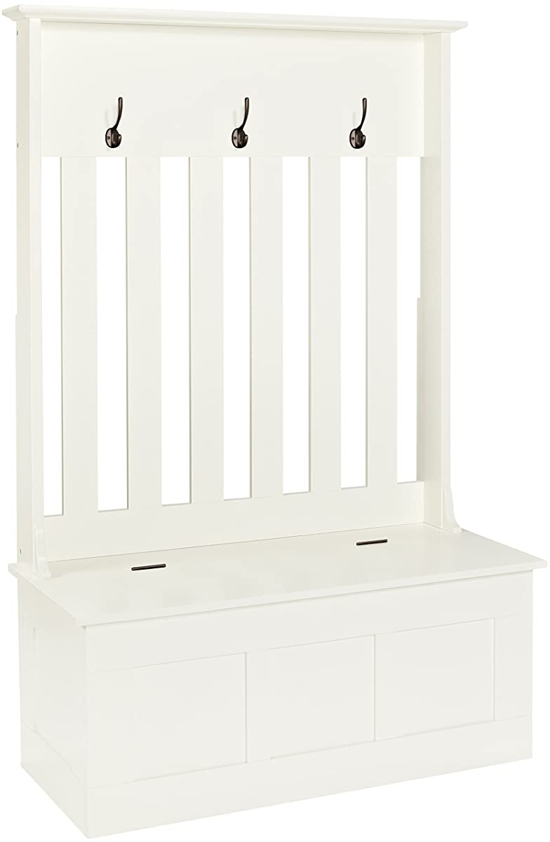 Crosley Furniture Ogden Entryway Hall Tree with Storage Bench - White