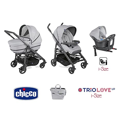 Trio Love up i-size cochecito + portabebés + siège-auto Pearl – Chicco