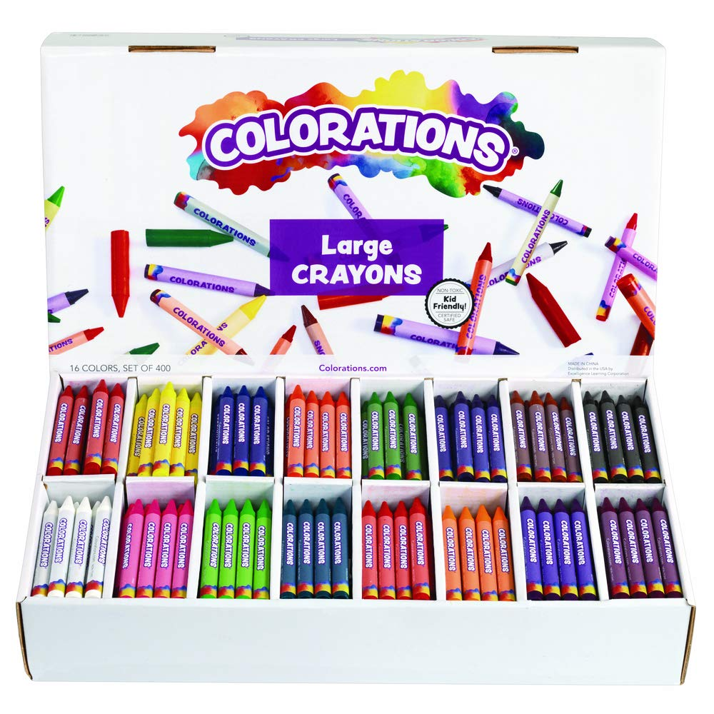 Colorations CLBIG16 Large Crayons 16 Colors (Pack of 400) by Colorations (Image #1)