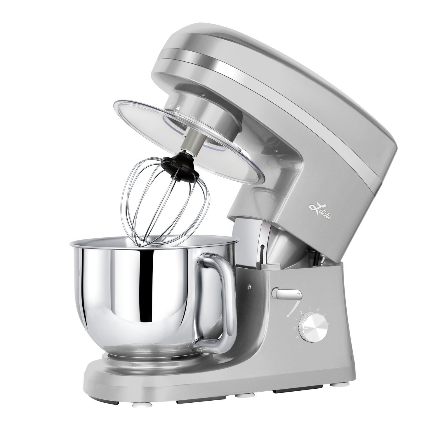 Litchi Stand Mixer, 5.5 Qt. Kitchen Mixer, 650W 6 Speed Tilt-Head Stand Mixers with Splash Guard, Stainless Steel Bowl, Beaters, Whisk, Dough Hook, Silver SM983S