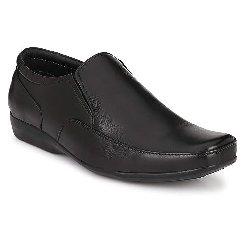 Black Leather Formal Slip-On Shoes