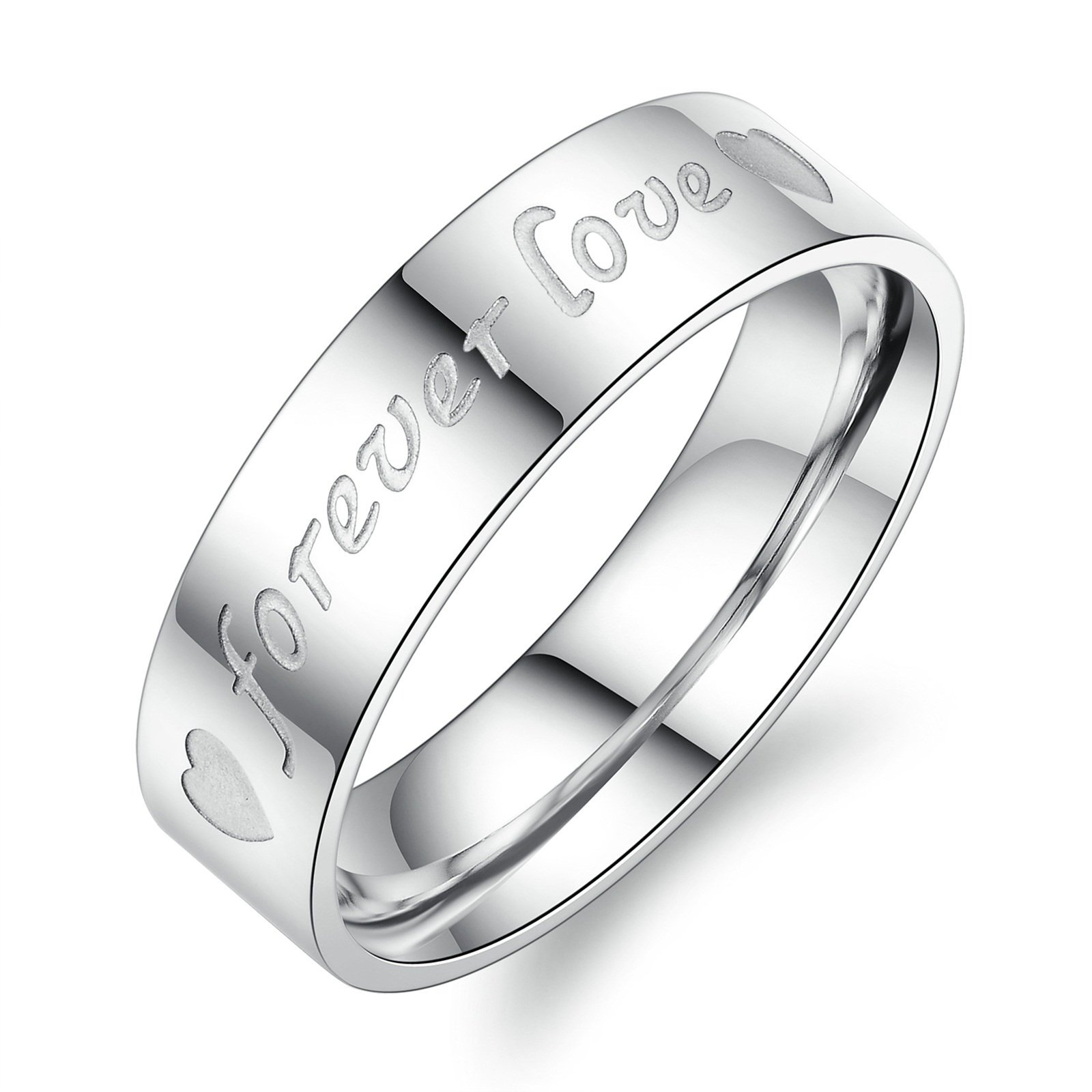Aooaz 2 Pcs Engagement Rings Stainless Steel Rings For Couples Silver Heart Forever Love Rings With Free Engraving Womens 8 & Mens 7 Novelty Jewelry Gift