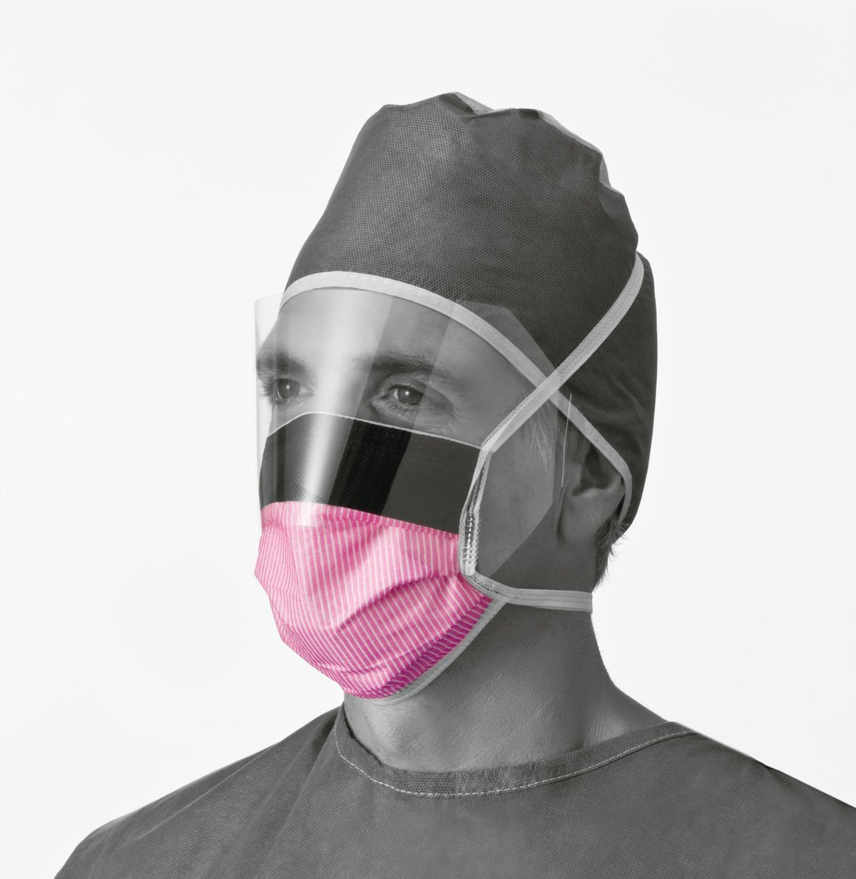 Fluid-Resistant Surgical Face Masks with Eyeshield,Purple, Qty 100