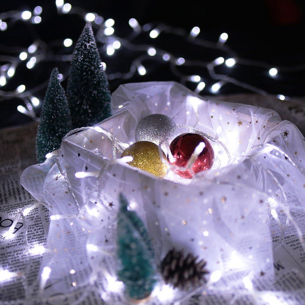HG/® 10M 100 LED Lichterkette Kaltwei/ß 31V Au/ßenlichterkette Weihnachtslichterkette 8 Modi Wasserdicht Weihnachten Halloween Party Hochzeit Festlich Tannenbaum innen Garten Fenster Pavillon Fassaden