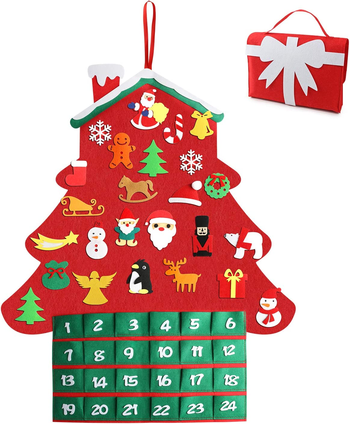 Henscoqi 2019 Newest Christmas Advent Calendar Felt Tree Ornaments,DIY Xmas Countdown Decorations Wall Door Hanging Gift for Kids