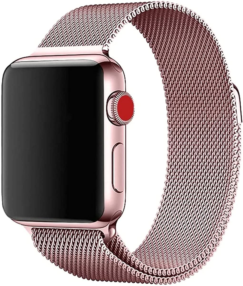 Stainless Steel Magnetic Absorption Strap for iWatch Metal Mesh Quick Release Wristband Sport Loop Compatible for iWatch Series 6/SE/5/4/3/2/1