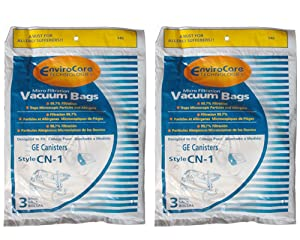 6 GE Canister CN1 CN-1 Vacuum Bags, White Westinghouse Home Cleaning System Vacuum Cleaners, 61980A, 6850, 6851, 6852,