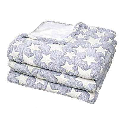 Delindo Lifestyle® Mantas para sofas ESTRELLA / gris / microfibra / Manta de forro polar / 220x240 cm