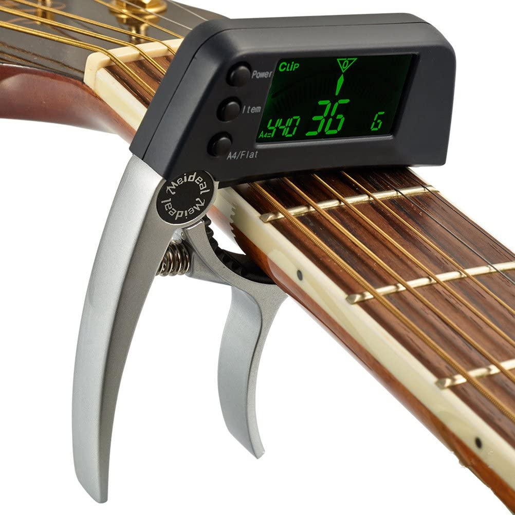 Rosenice Digital Accordeur de guitare et Capodastre pour guitare basse Ukul/él/é Banjo Mandoline Violon chromatique 2/en 1