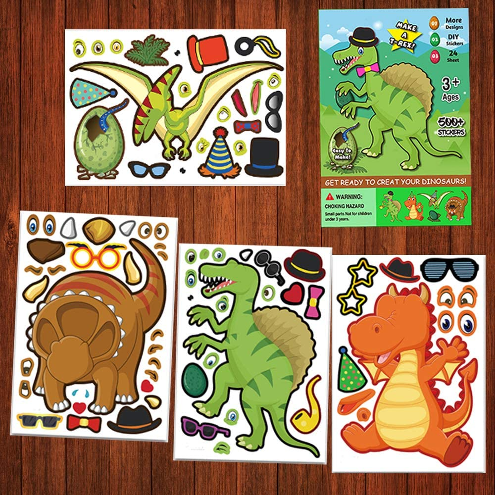 Dinosaur Stickers,Make Your Own Dinosaur Stickers,Make A Dinosaur Stickers DIY Stickers Dinosaur Party Sticker Craft Game,Dino Theme Birthday Party Favors for Kids (24 Sheets) (Make-A-Dinosaur Stickers)