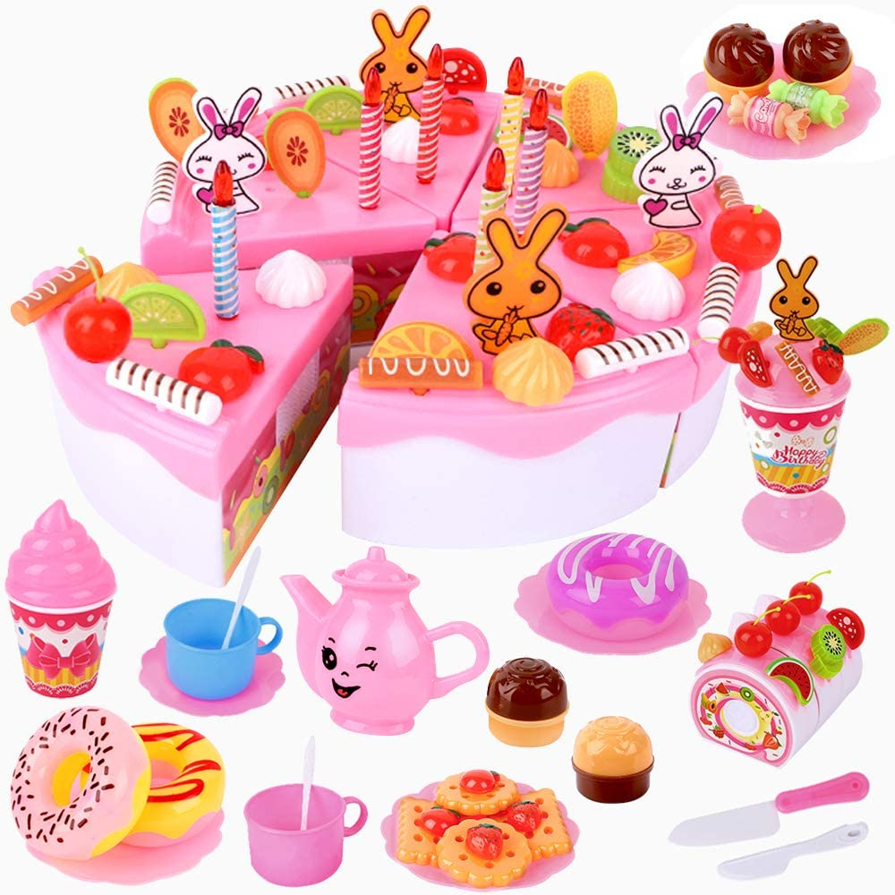 Baobë Cutting Birthday Cake Toys with Candles Fruit Dessert, DIY 107 PCS Pretend Play Food Kids Tea Set, Roll Cake, Chocolate,Educational Food Toys Gift for 3 4 5 6 Years Old Children Boys and Girls