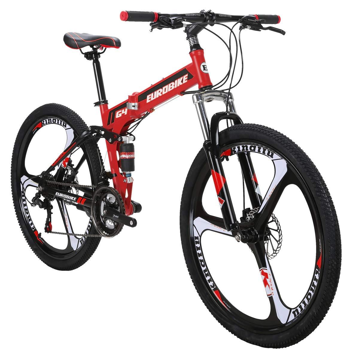 Eurobike G4 - Bicicleta de montaña de 21 velocidades, Estructura de Acero, Ruedas de 26 Pulgadas, Doble suspensión, Bicicleta Plegable, Rojo: Amazon.es: ...
