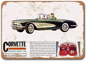 Sisoso 1960 Corvette Vintage Car Tin Signs, Metal Plaques Poster Man Cave Bar Retro Wall Decor 16x12 inch