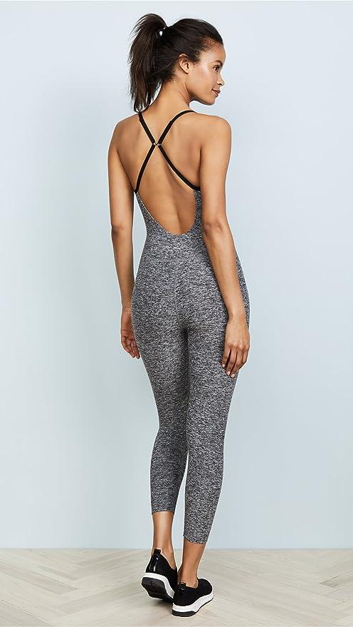 7d51edc58b1 Amazon.com  Beyond Yoga Women s Spacedye Elevation Capris Bodysuit Black  White X-Large  Clothing