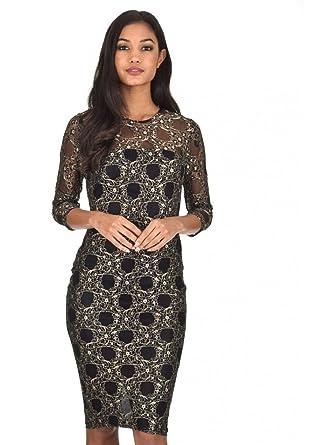 728bf176d42 AX Paris Women s Black and Gold Lace Bodycon Dress(Black Gold