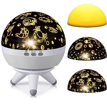 lámpara Proyector estrellas, e-manis 360 grados Rotación Musical ...