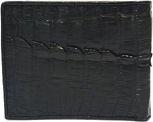 Authentic M Crocodile Skin Men's Bifold Crocodile Tail Skin Leather Wallet (Black)