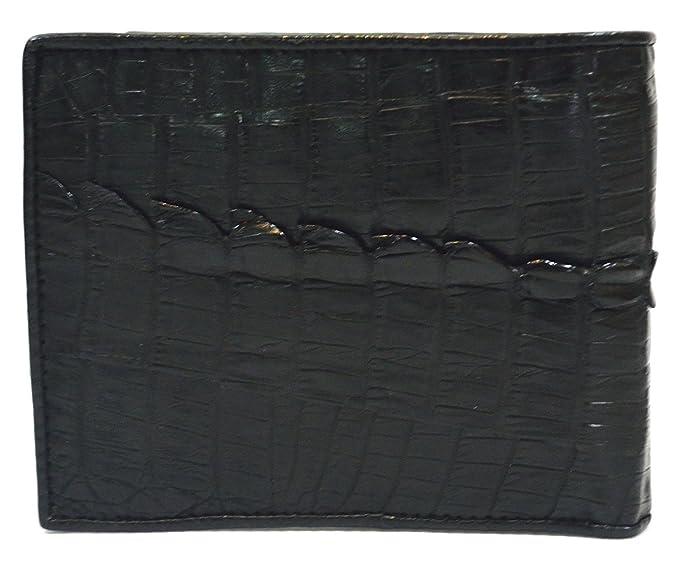 Genuine Skin Crocodile Alligator Cowhide Leather Tail Embossed Bifold Men Wallet