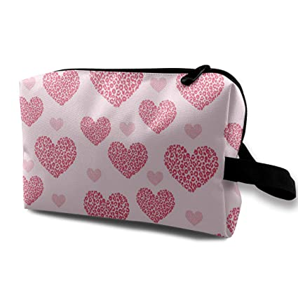 db77c7950a92 Image Unavailable. Image not available for. Color  Pinkipory Travel Cosmetic  Bag Portable Handbag Red Heart Toiletry Pouch Small ...