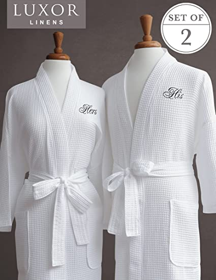 55b8c24139 Amazon.com  Luxor Linens Egyptian Cotton Waffle Weave Robe with His ...