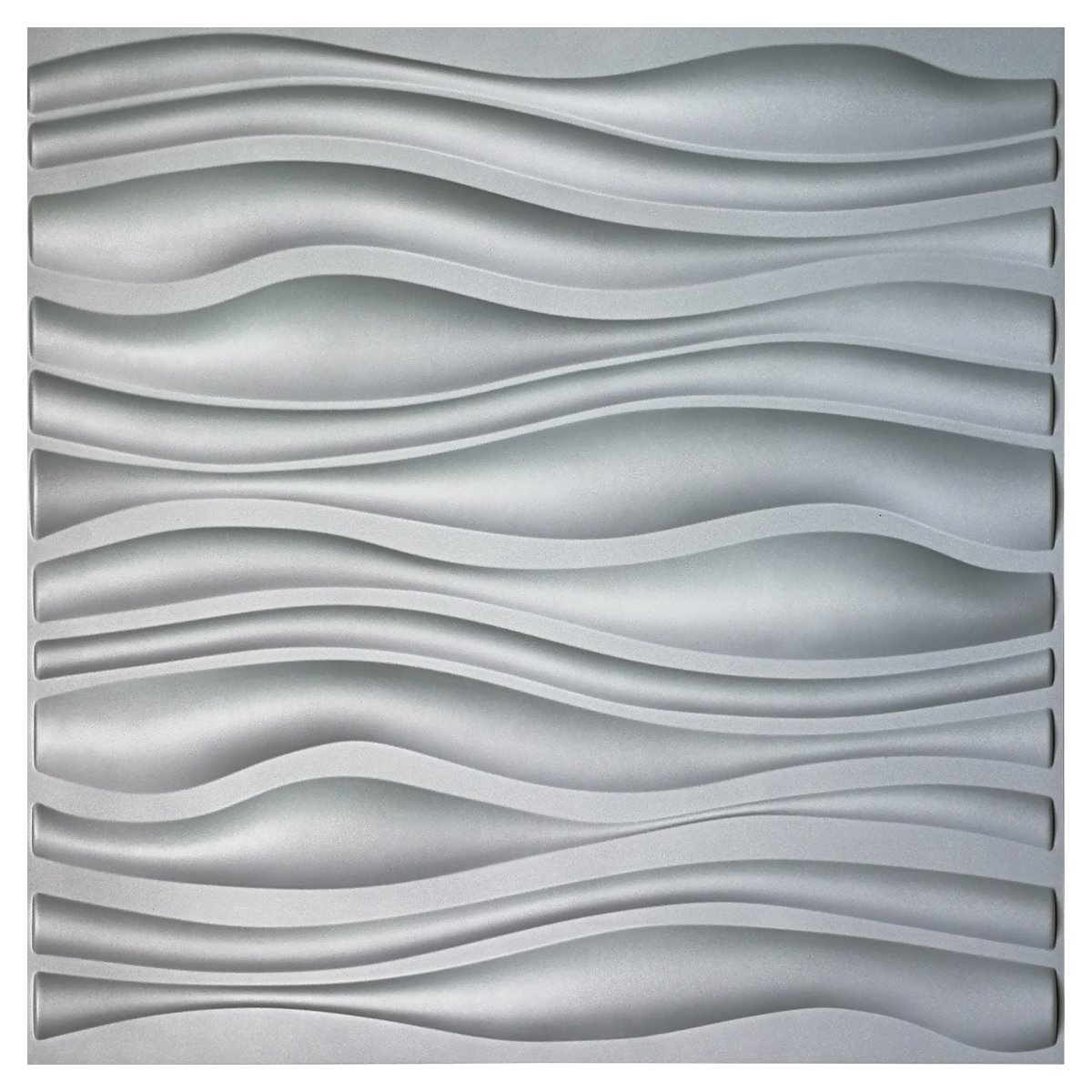 Art3d PVC Wave Board Textured 3D Wall Panels, Grey, 19.7 x 19.7 (12 Pack)