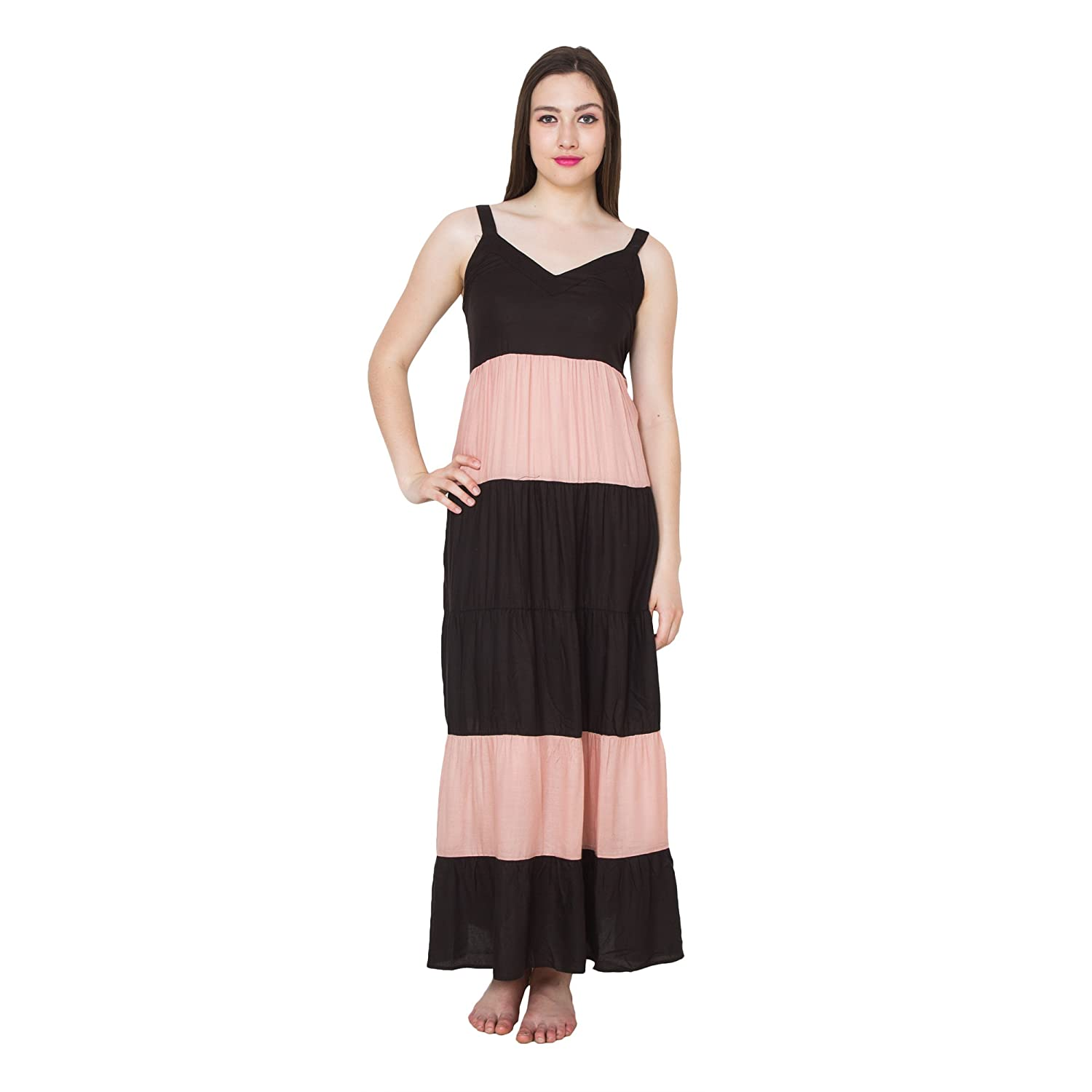 7e86a9a433 Patrorna Blended Women s Flared Empire Nighty Night Dress Gown in Black  Peach (Size S-7XL
